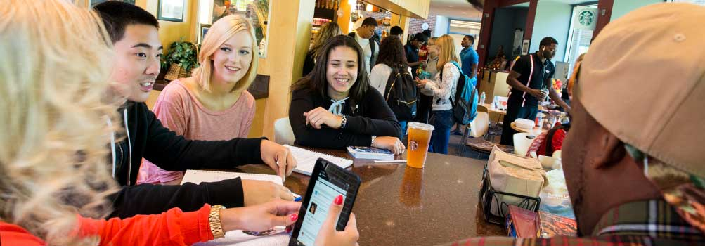 Penn State Hazleton students relax between classes in the Highacres Cafe.