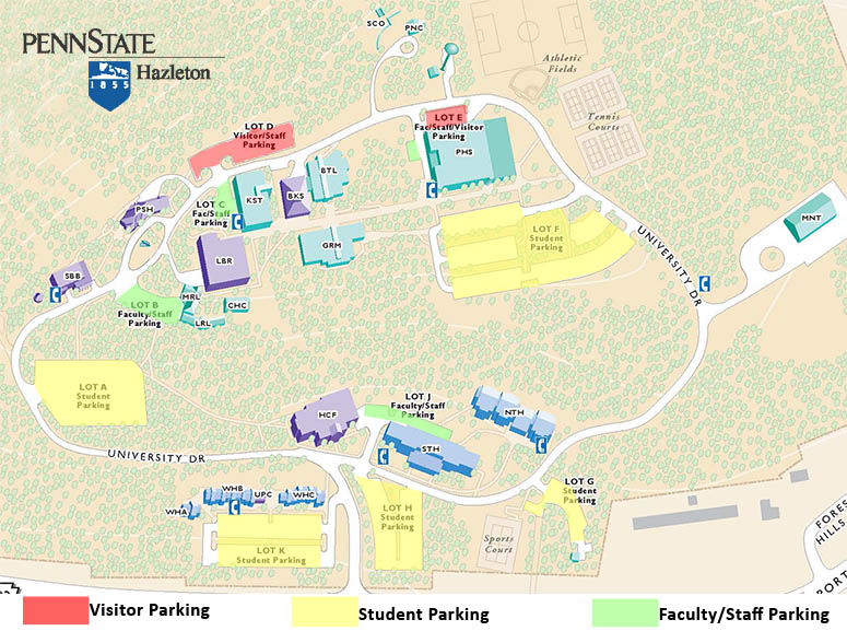 Penn State Hazleton parking map