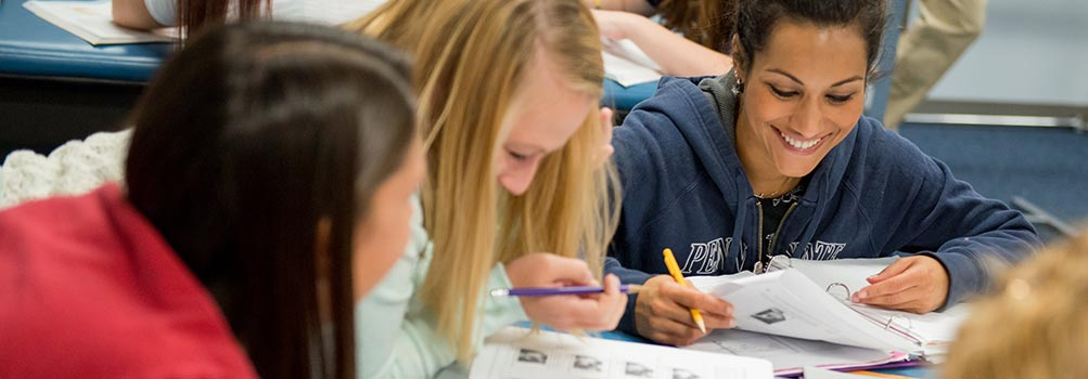 Photo of students studying at a desk.
