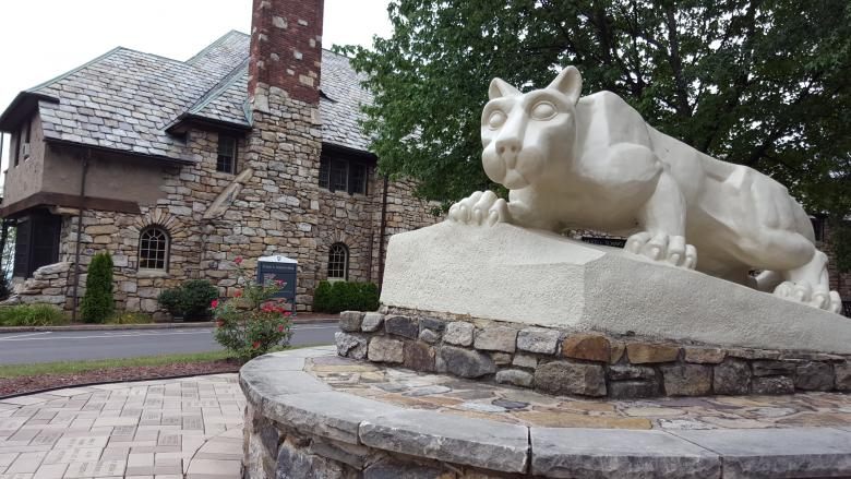 Penn State Hazleton's Nittany Lion statue in front of Schiavo Hall.