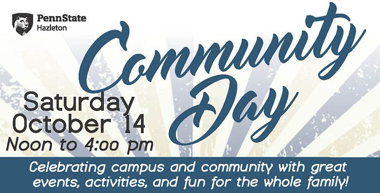 Community Day information - Saturday, October 14 from Noon to 4 p.m.