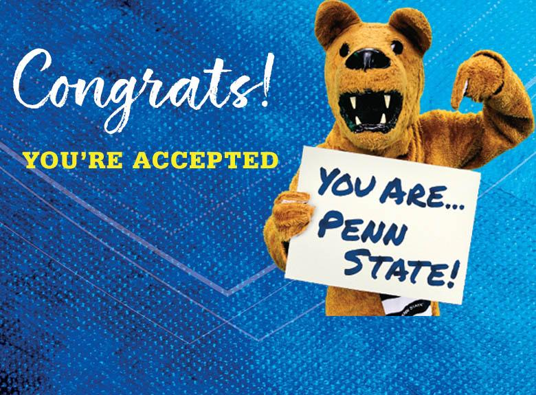 Congrats you're accepted with Nittany Lion holding a sign