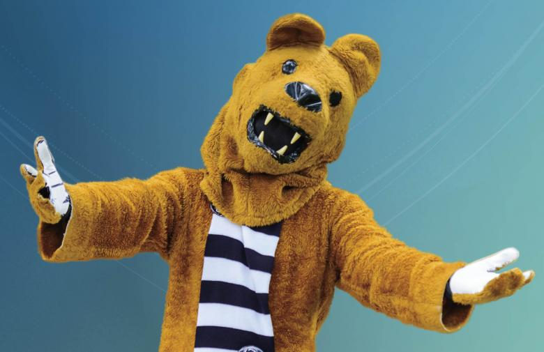 Nittany Lion mascot with outstretched arms.