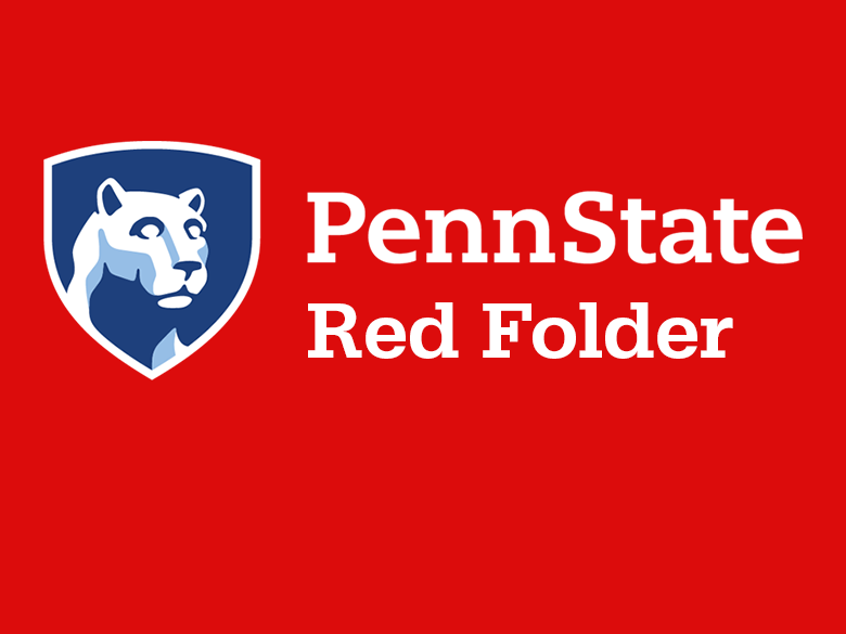 Penn State's Red Folder Logo with red background