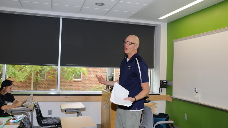 Assistant Professor of Rehabilitation and Human Services Garrett Huck teaches a class at Penn State Hazleton.