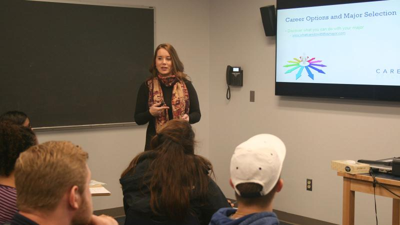Career Services Coordinator Kaitlyn Krasucki speaks to students in Justin Nordstrom's First-Year Experience class.