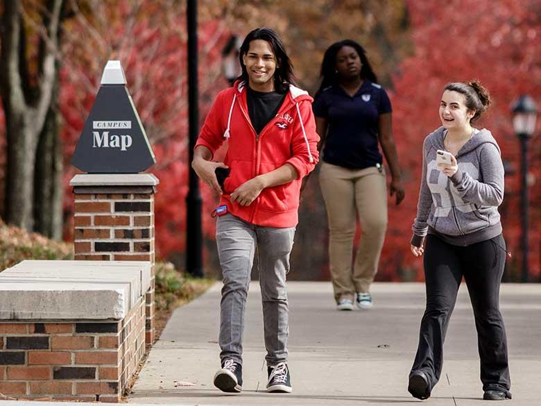 Three students walking down a path.