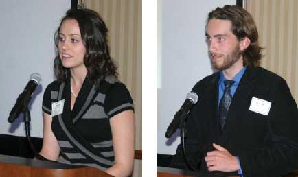 Student Speakers at the Highacres Society Reception include on left Ms. Jessica Horlacher and on right Mr. Michael Walters.