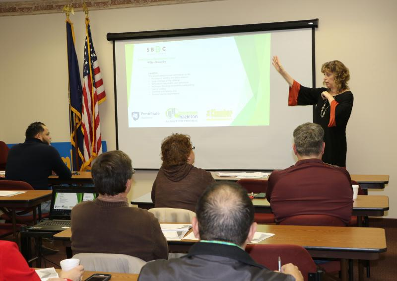Kathy DeLeo, business consultant with the Small Business Development Center at Wilkes University, presents a seminar at the Greater Hazleton Chamber of Commerce.