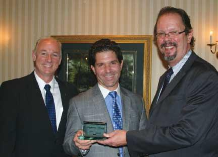 Dominic Yannuzzi '84 is inducted into Penn State Hazleton's Highacres Society.  From left to right are Kevin Salaway Director of Development and Alumni Relations, Dominic Yannuzzi, and Gary Lawler, Chancellor.