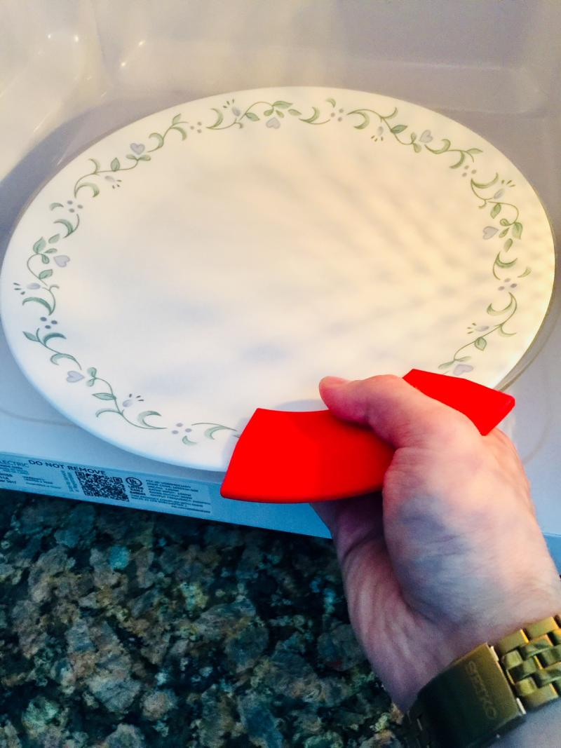 Micro Mitts is a silicone attachment to prevent burns when removing a hot dish from the microwave.