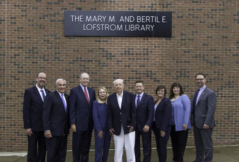 Group attending library dedication