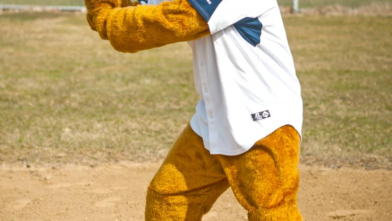 Nittany Lion with baseball bat