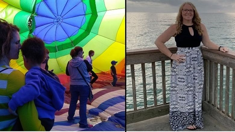Split collage of adult learners. On the left a woman and child inside a colorful parachute. On the right a woman standing with the ocean behind her.