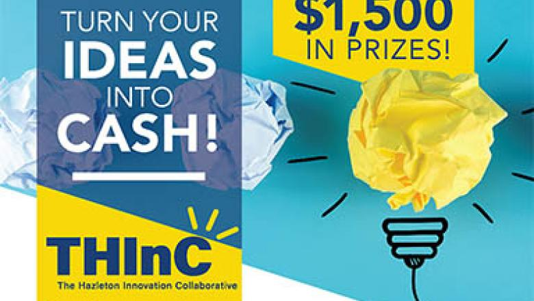 Rolled up paper ball in light bulb shape. Turn your ideas into cash. The Hazleton Innovation Collaborative.