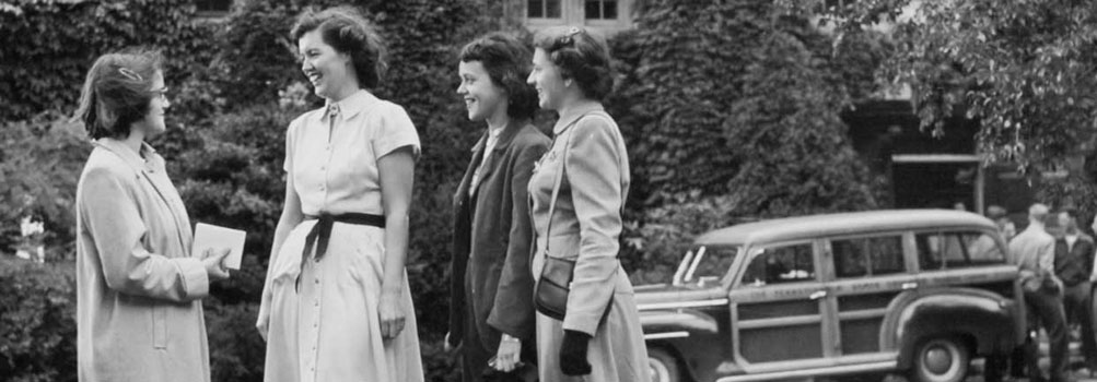 Students in the 1950s outside the current Pasco L. Schiavo Hall.
